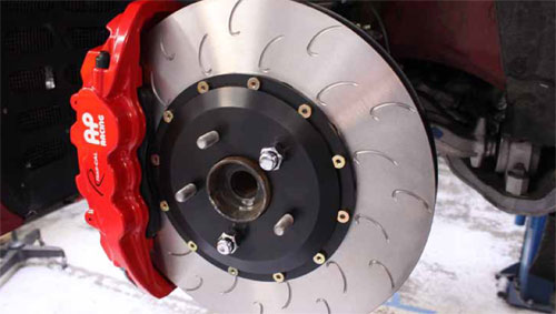 AP Racing J-hook Rotor with red 6 piston caliper