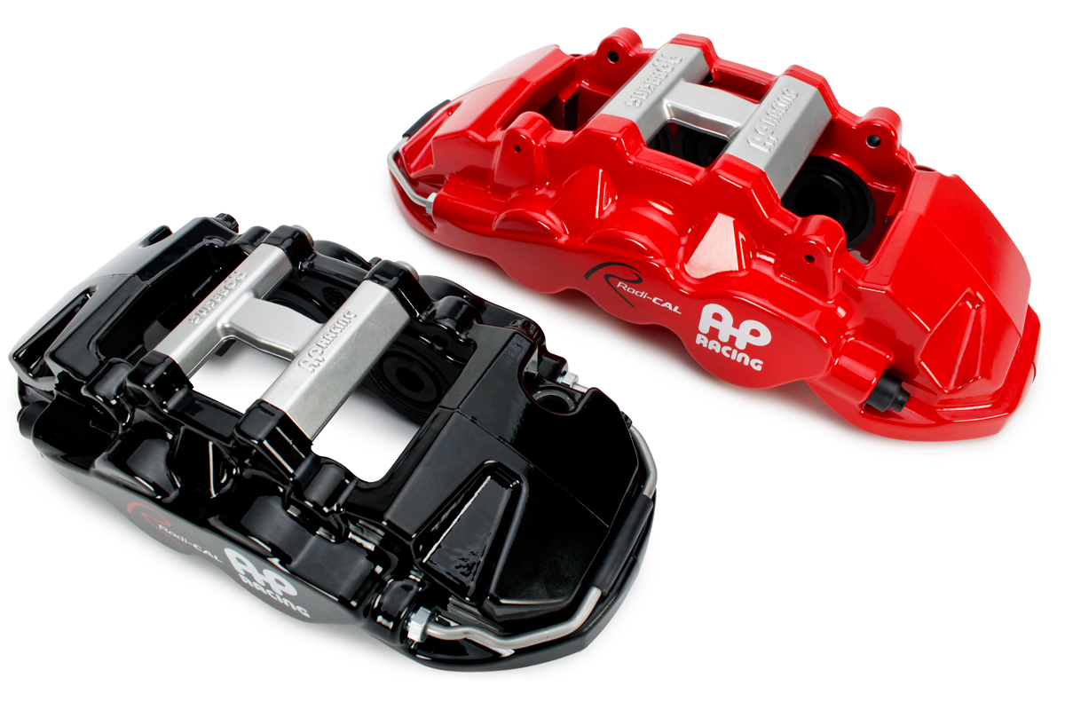 Red pressure forged caliper and pistons