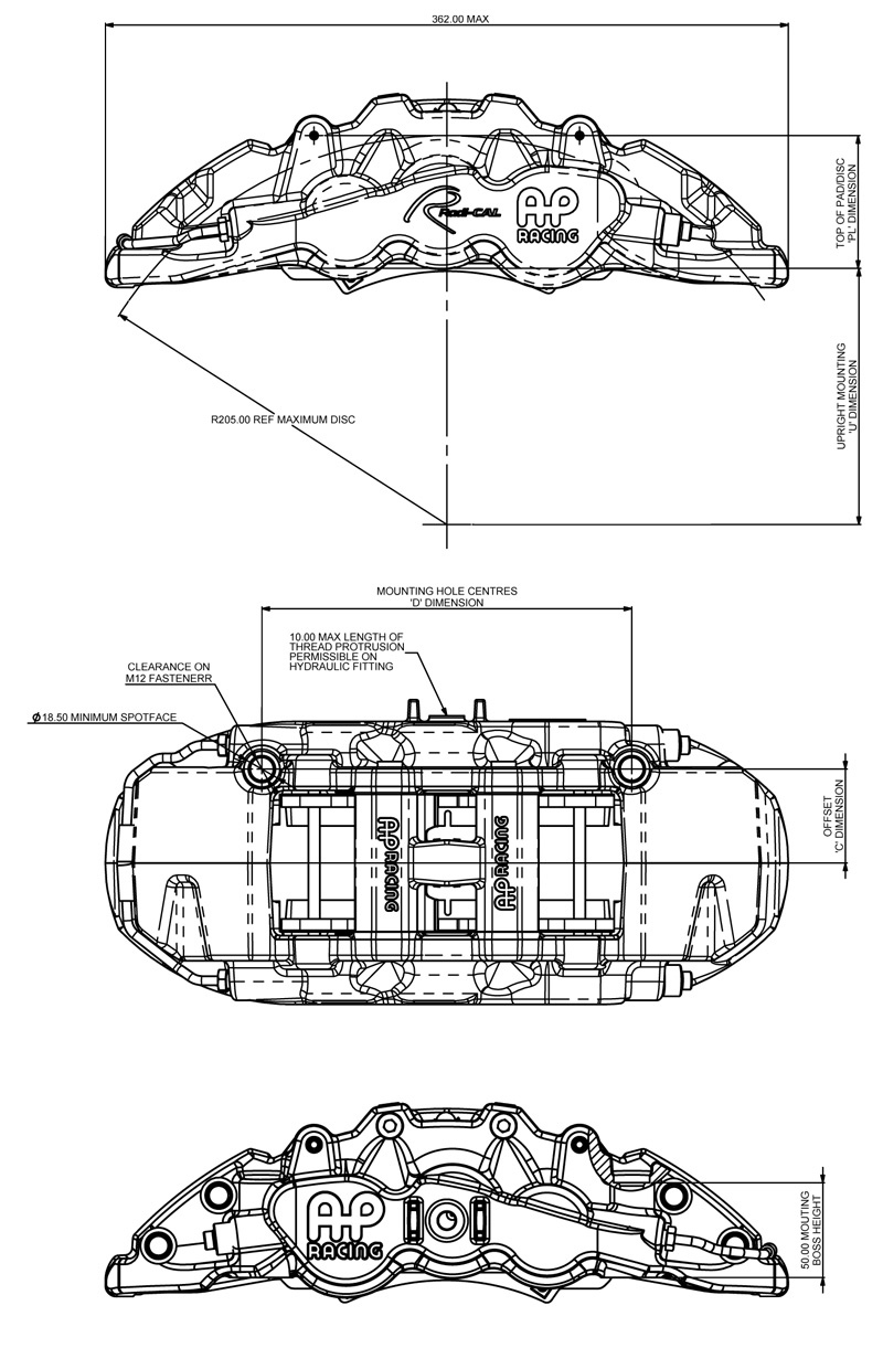 AP Radi-CAL caliper technical drawings