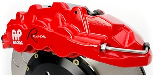 AP Racing Radi-CAL by STILLEN with red caliper and j-hook brake disc